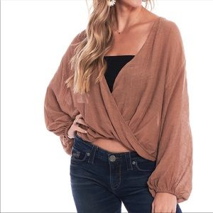 NWOT RED Favlux Nordstrom Faux Wrap Top